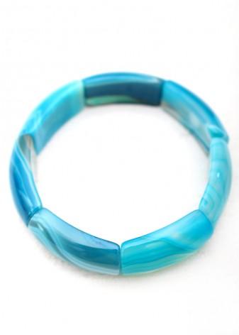 Chunky Cerulean Blue Agate Bracelet