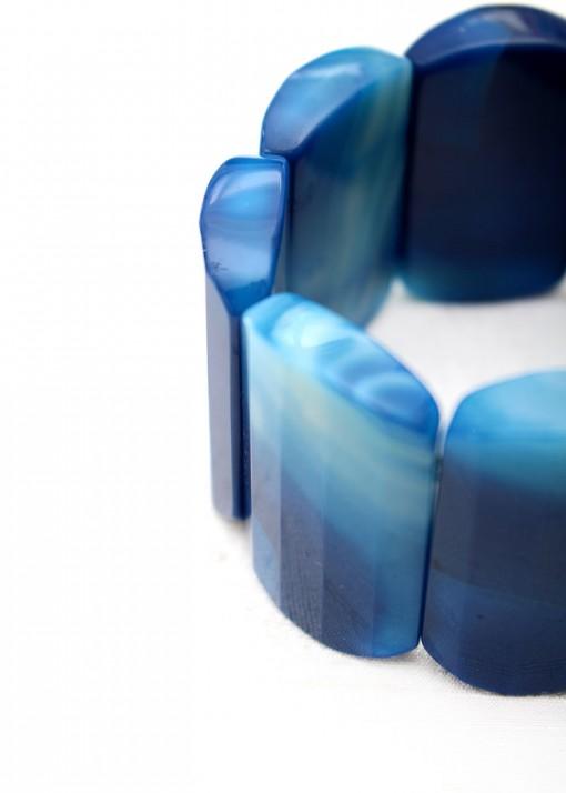 Deep Blue Agate Chunky Bracelet