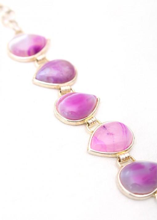Teardrop Purple Cabochon Charm Bracelet
