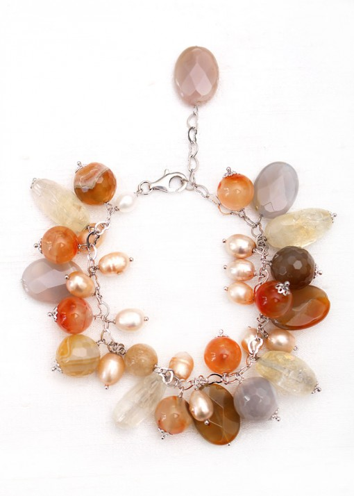Pearl and Agate Charm Bracelet