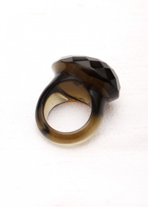 Grey Chunky Glass Ring