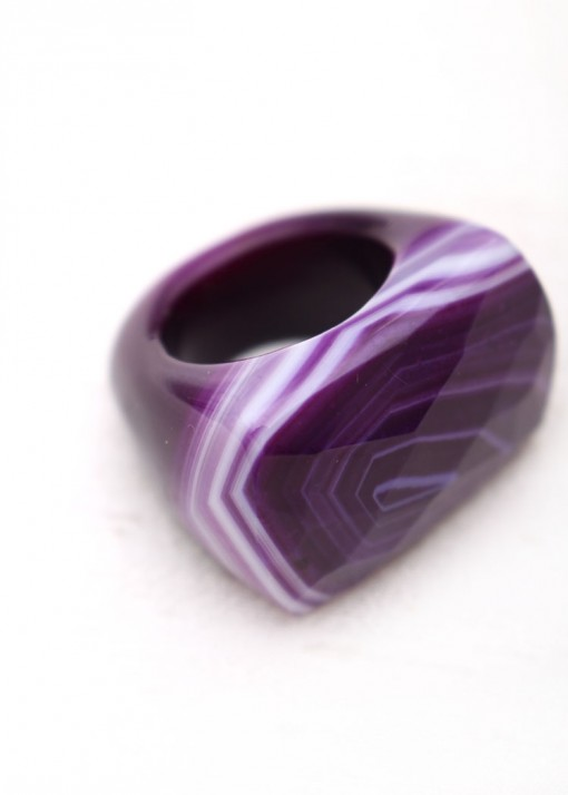Purple Agate Statement Faceted Ring