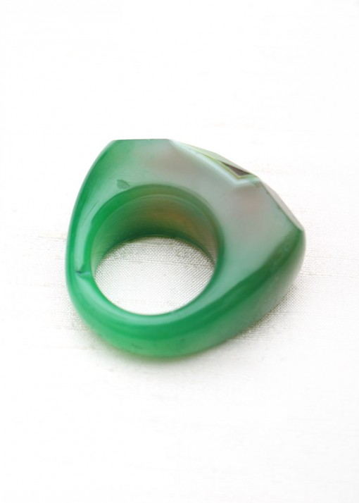 Green Faceted Chunky Statement Ring