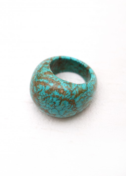 African Turquoise Round Ring