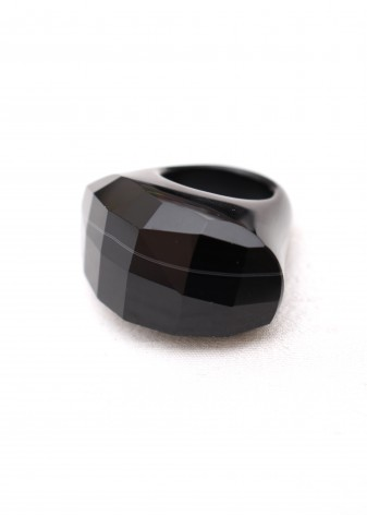 Black Faceted Chunky Ring