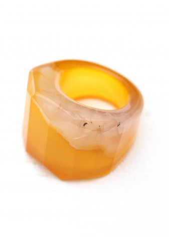 Yellow Agate Faceted Statement Ring