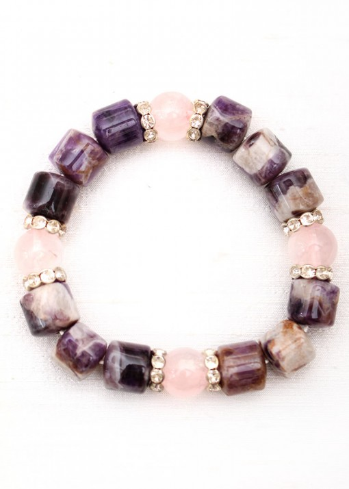 Beaded Rose Quartz and Amethyst Bracelet