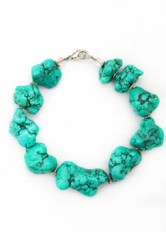 Irregular Turquoise Beaded Bracelet