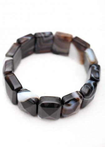 Polished Striated Black Agate Beaded Bracelet