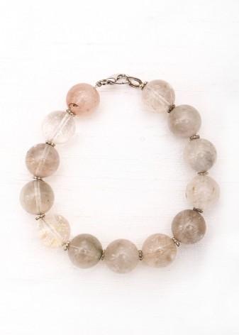 Flecked Clear Glass Beaded Bracelet