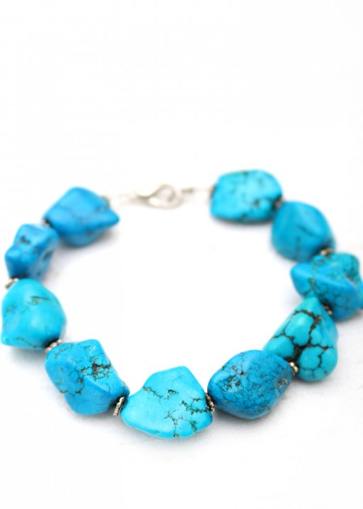 Beaded Turquoise and Silver Bracelet
