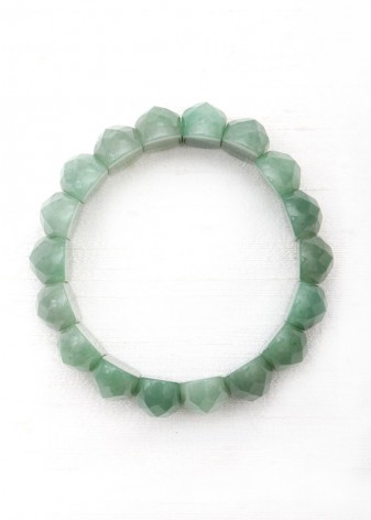 Faceted Green Jade Beaded Bracelet