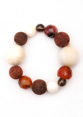 Beaded Polished Coral and Smoky Quartz Bracelet