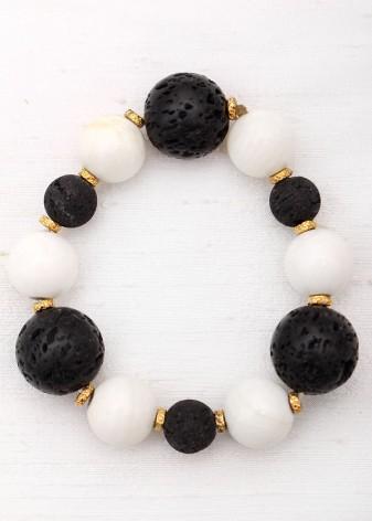 Monochrome Agate and Lava Rock Beaded Bracelet