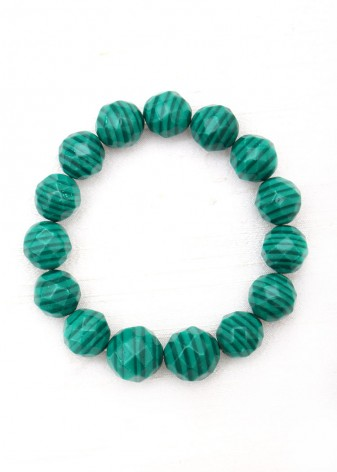 Beaded Forest Green Malachite Bracelet