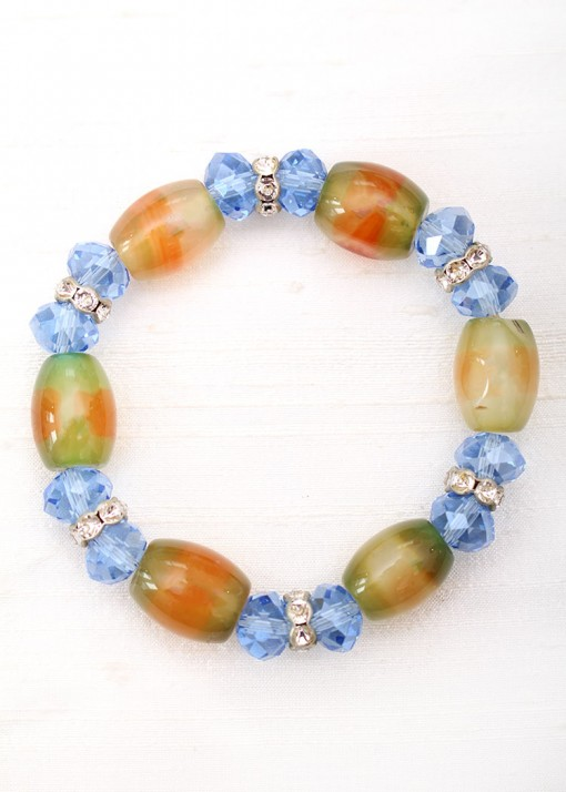 Green Agate and Blue Crystal Beaded Bracelet