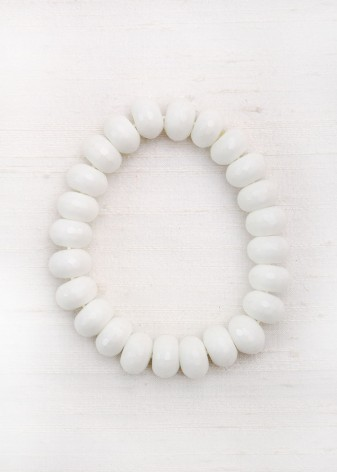 White Agate Beaded Bracelet