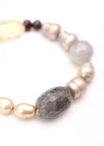Pearl and Agate Beaded Bracelet