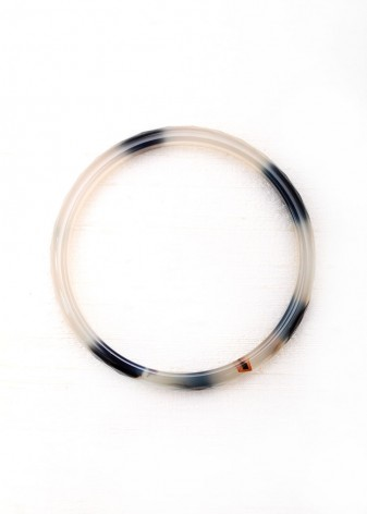 Black and White Agate Delicate Bangle Bracelet