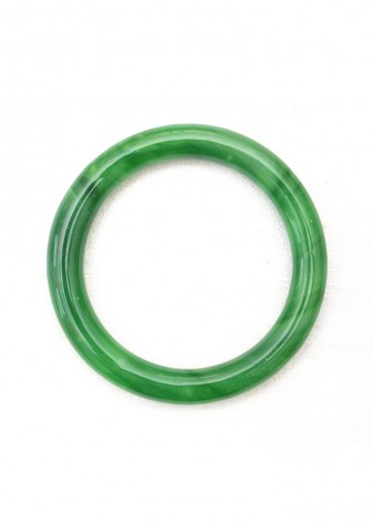 Emerald Green Striated Jade Bangle Bracelet