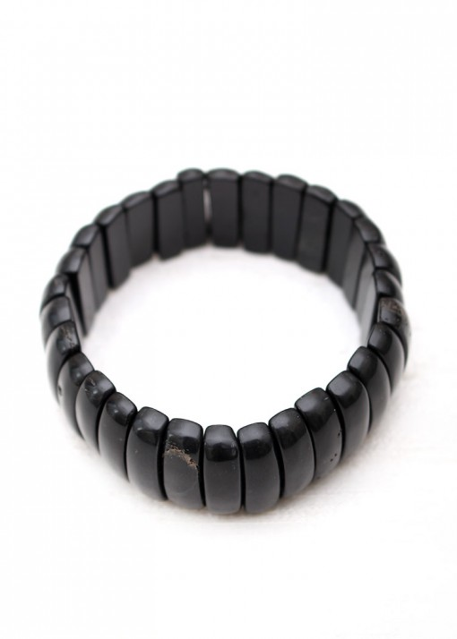 Chunky Stretch Black Agate Bracelet