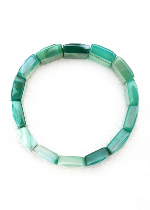 Chunky Green Agate Faceted Bracelet