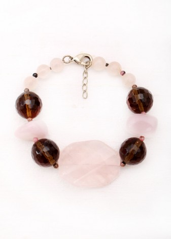 Rose Quartz Slice Chunky Bracelet