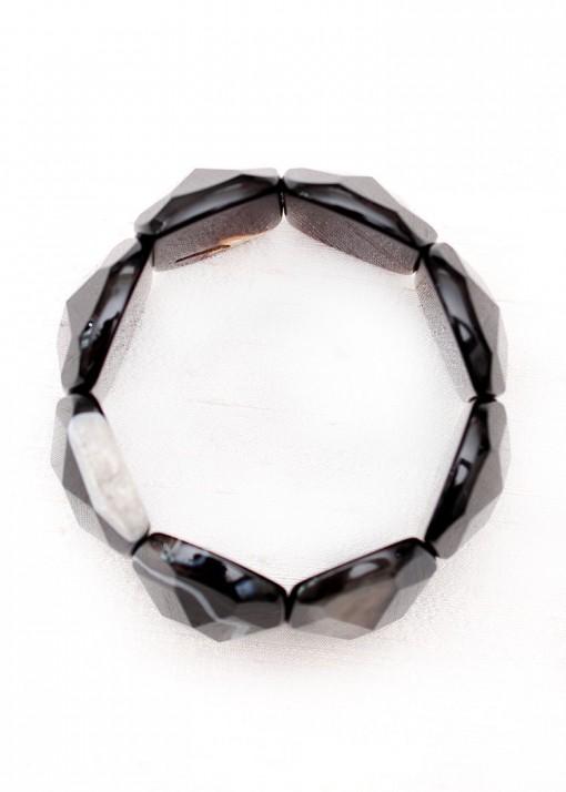 Black Faceted Chunky Bracelet