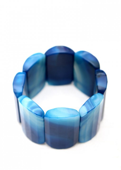 Chunky Deep Blue Agate Bracelet