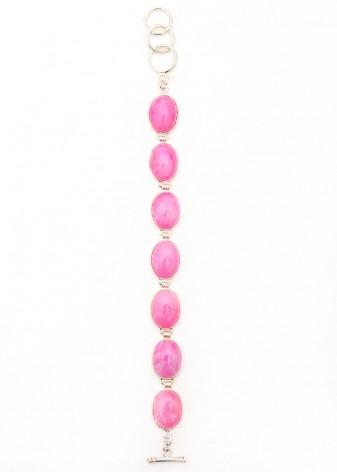 Cabochon Pink Charm Bracelet