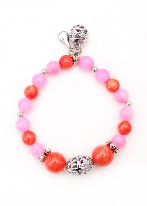 Orange Agate and Pink Jade Charm Bracelet