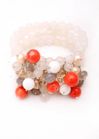 Orange and White Agate Statement Charm Bracelet