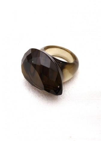 Grey Chunky Glass Ring