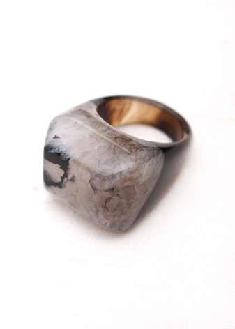 Monochrome Druzy Agate Ring