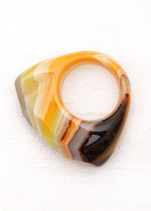 Honey Agate and Raw Crystal Statement Ring