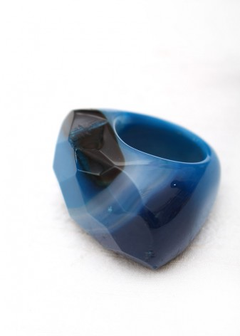 Chunky Blue Agate Statement Ring