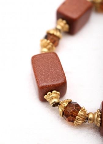 Beaded Toffee Goldstone Bracelet