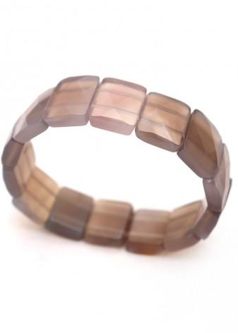 Grey Faceted Agate Stretch Bracelet