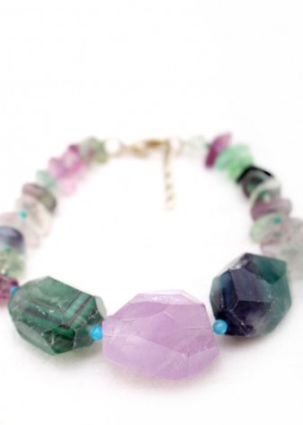 Green and Amethyst Agate Bracelet