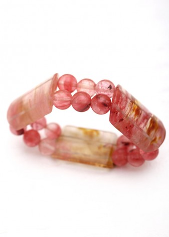 Chunky Cherry Quartz Beaded Bracelet
