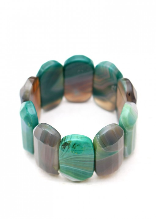 Chunky Green and Grey Agate Bracelet