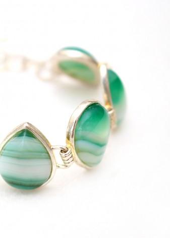 Green Crazy Agate Teardrop Cabochon Charm Bracelet