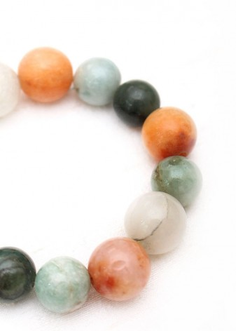 Beaded Agate, Aventurine and Snow Quartz Bracelet