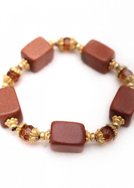 Toffee Goldstone Beaded Bracelet