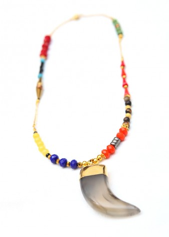 Adsila Agate Tooth Pendant Necklace
