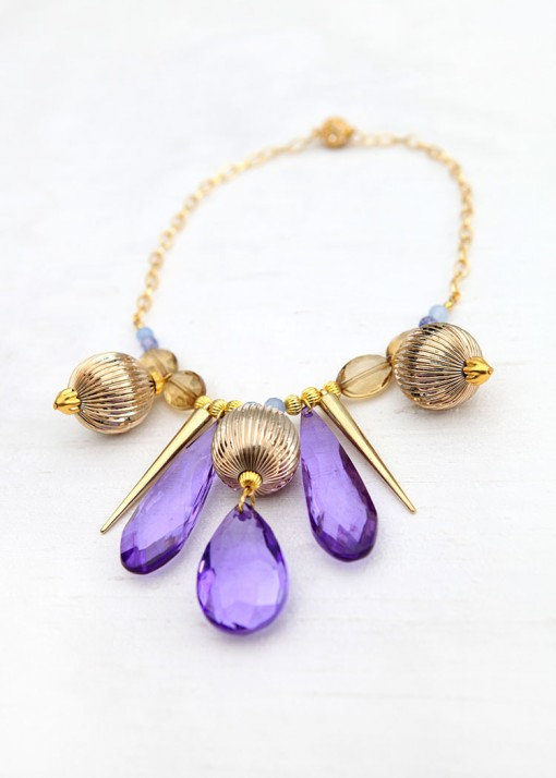 Gold and Purple Fashion Necklace