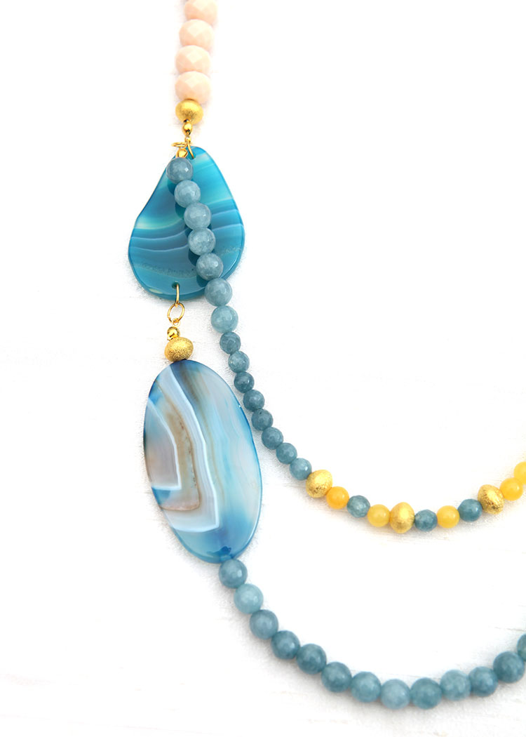 Beach Blue And Yellow Agate Necklace Diwah Jewellery