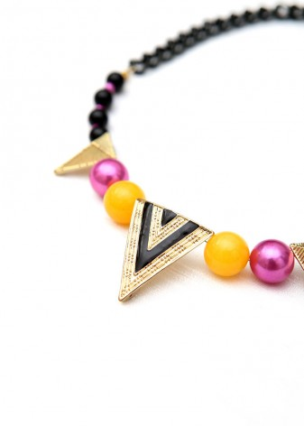 Black and Gold Triangle Beaded Collar
