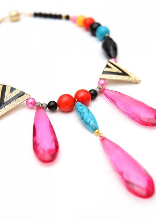 Statement Pink Teardrop Pendant Necklace