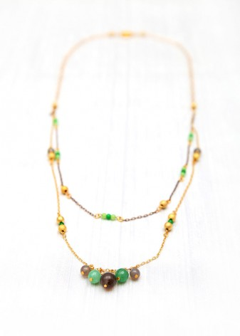 Agate Beaded Droplette Necklace